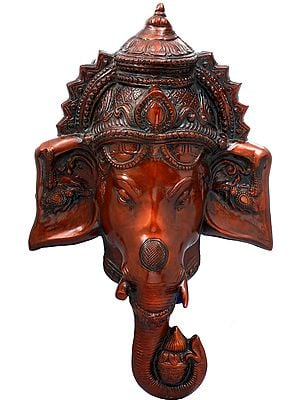 Crowned Ganesha Face-Mask Wall-Hanging