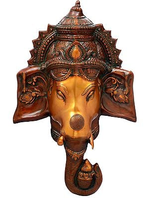 Crowned Ganesha Face-Mask Wall-Hanging