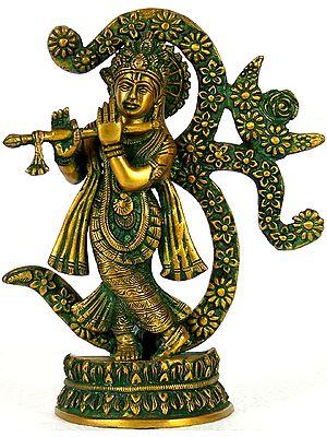 Fluting Krishna, Against The Backdrop Of Om