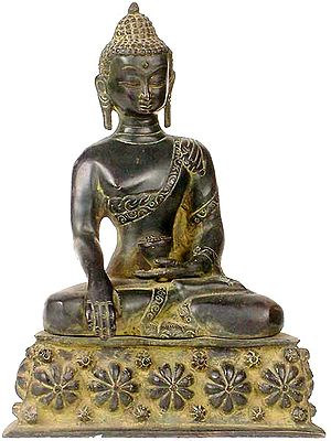 Buddha, His Hand In Bhumisparsha Mudra, Upon A Throne Of Blooming Lotuses