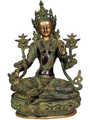 Green Tara Seated Gracefully On A Lotus (Tibetan Buddhist Deity)