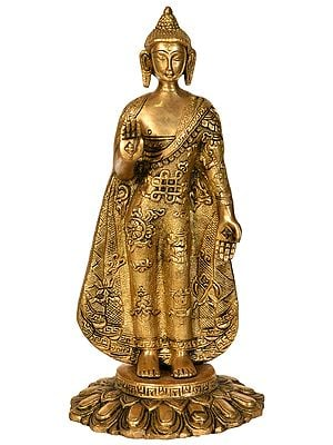 Standing Buddha, His Hands In Abhay Mudra, Auspicious Motifs On His Robes