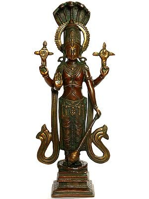 Standing Chaturbhuja Vishnu, Five-Hooded Shesha Towering Above His Halo