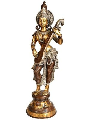 Standing Saraswati Strums On Her Veena