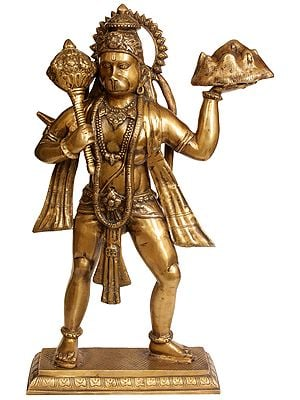 Mahabali Hanuman With The Goad In One Hand, Mount Dron In The Other