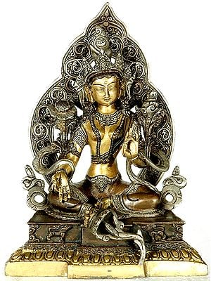 Green Tara Seated Afore An Elaborate Prabhavali Upon A Decorated Pedestal (Tibetan Buddhist Deity)