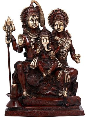 Shiva Seated With Parvati Next To Him, Ganesha On Their Lap