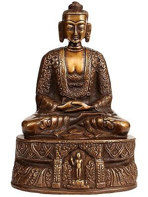 Buddha Seated On A High Pedestal, Engraved With A Haloed Figure Of Himself