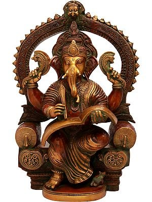 Royal Throne Ganesha Writing Om Namaha Shivaya