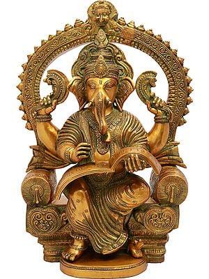 Royal Throne Ganesha Writing Om Namaha Shivaya