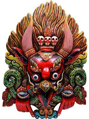 Super Large Wrathful Garuda Wall Hanging Mask (Made in Nepal) - Tibetan Buddhist