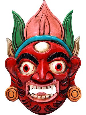 Tibetan Buddhist Deity Mahakala Wall Hanging Mask From Nepal