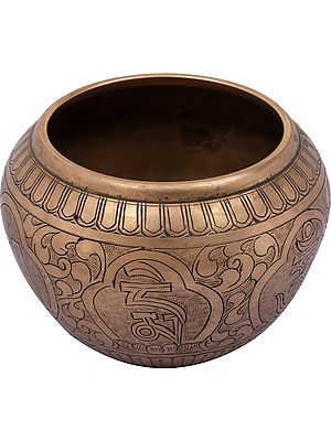 Om Mani Padme Hum Engraved Ritual Bowl From Nepal - Tibetan Buddhist