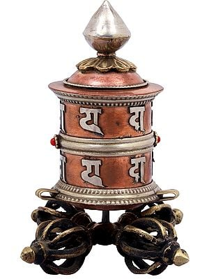 Small Prayer Wheel on Vishwa-Vajra Stand From Nepal - Tibetan Buddhist