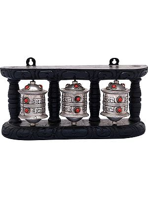Three Prayer Wheels in One Stand - Made in Nepal (Tibetan Buddhist)