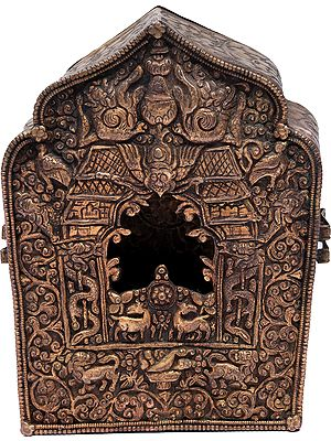 Tibetan Buddhist Gau Box from Nepal (Portable Shrine)
