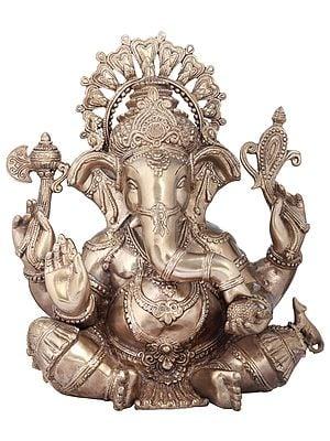 Chaturbhuja Seated Ganesha Granting Abhaya