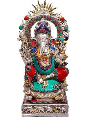 Lord Ganesha with Surya and Marching Elephants Aureole
