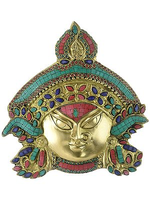 Durga Head Brass Wall Hanging