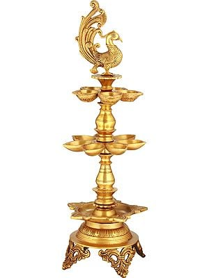 Three Layer Wicks Auspicious Puja Lamp