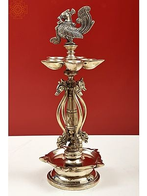 Puja Lamp with Peacock Atop