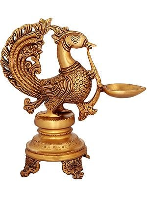 Peacock Wick Puja Lamp