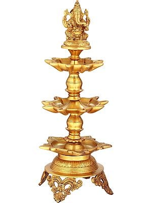 Lord Ganesha On Miniscule Lotus Pedestal Lamp