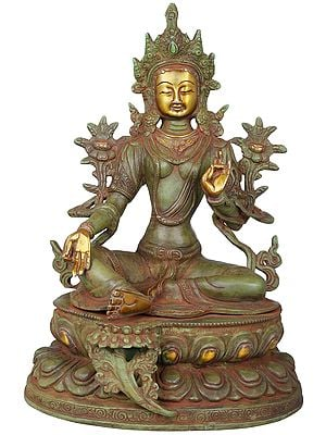Green Tara Seated On a Lotus (Tibetan Buddhist Deity)