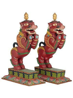 Temple Snow Lion Pair From Nepal