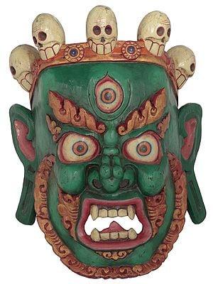 Tibetan Buddhist Deity Mahakala Wall Hanging Mask From Nepal