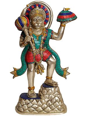 Mahabali Hanuman With The Mount Dron In One Hand