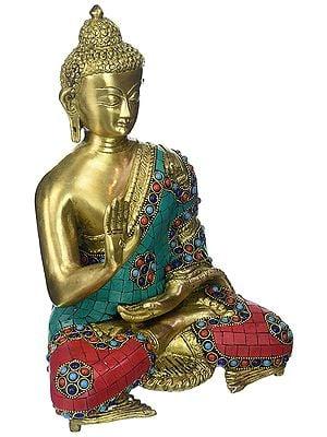 Gautam Buddha in Abhaya Mudra - Tibetan Buddhist Deity (Preaching)