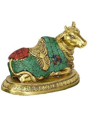 Shiva's Nandi Brass Statue with Inlay Work