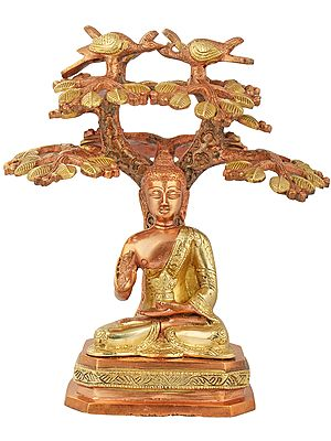 Tibetan Buddhist Lord Buddha Seated Under a Tree