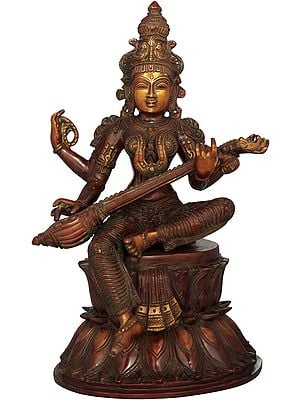 Goddess Saraswati Seated on Double Lotus Pedestal