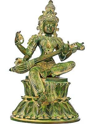 "14"" The Beauteous Saraswati Strumming On Her Goad-Veena | Handmade | Brass Statue | Made In India"