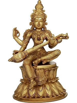 The Beauteous Sarasvati Strumming On Her Goad-Veena