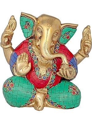 Ganesha with Trishul Mark on Forehead