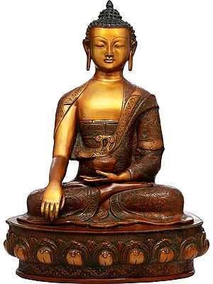 Lord Buddha in Earth Touching Gesture Wearing a Fullly Carved Robe (Tibetan Buddhist)