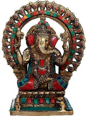 Lord Ganesha Lotus Petals Aureole