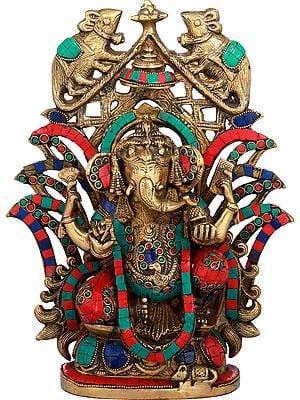 The Splendour Of Ganesha, The Vahana Perched On The Aureole