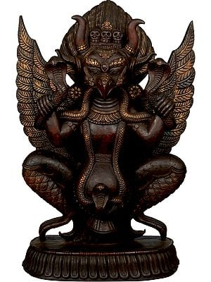 The Solemn Garuda, With Snakes In His Hand And Horns On His Head