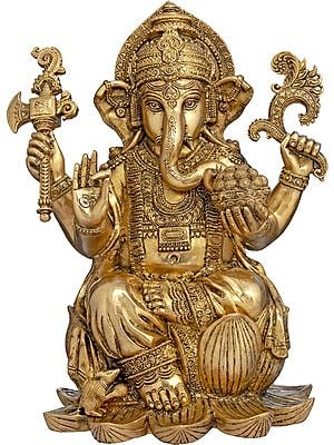 Richly Adorned Kamalasana Ganesha, His Lifelike Gaze Encompassing The World