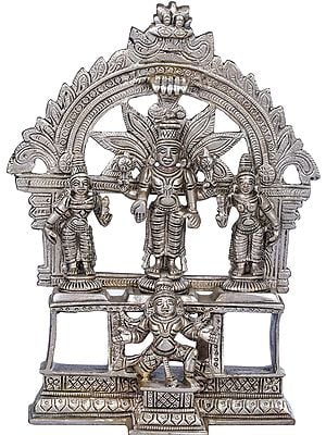Lord Vishnu with Lakshmi and Bhudevi on Garuda Pedestal