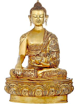 Large Size Lord Buddha in Bhumisparsha Mudra Wearing a Superfine Carved Robe - Tibetan Buddhist