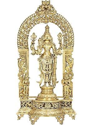 Lord Vishnu Flanked By Hanuman-Garuda