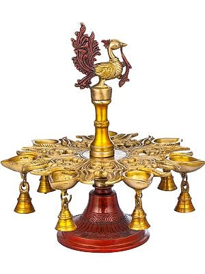 Seven Wicks Peacock Lamp with Bells