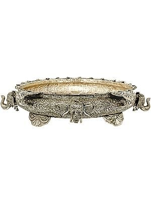 Superlarge Intricately Carved Superfine Urli Bowl with Elephant Heads
