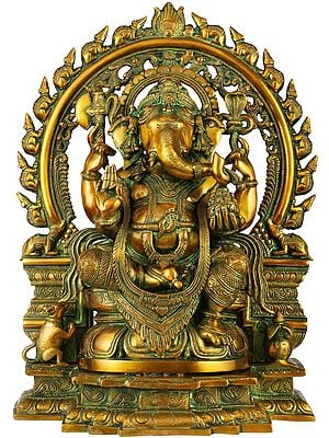 Ganesha On A Lotus Throne, His Aureole Composed Of Marching Mice