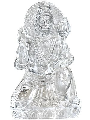 Lord Hanuman Finely Carved in Crystal